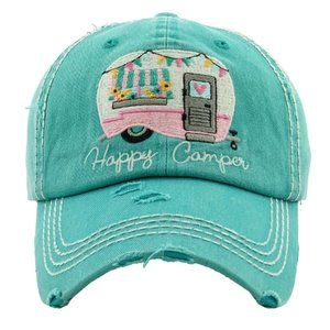 Happy Camper Turquoise Distressed Baseball Hat